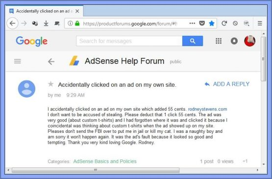 sorry note to adsense