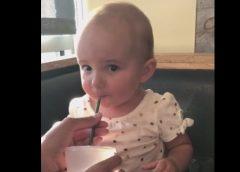 1 year old girls reaction to her first chocolate milkshake